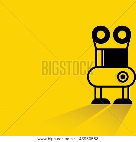 cute robot with drop shadow on yellow background