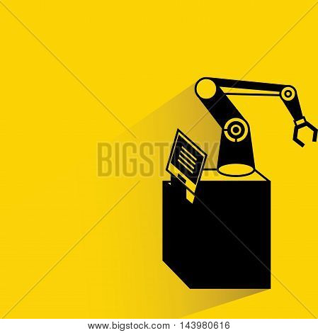 robot with drop shadow on yellow background