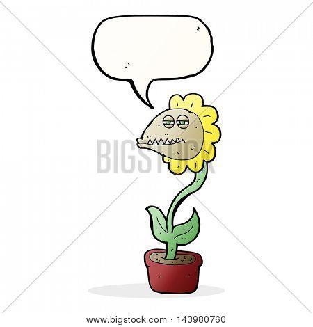 cartoon monster flower with speech bubble