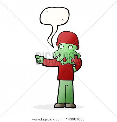 cartoon alien monster man with speech bubble