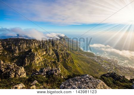 View of the sunset in the Atlantic Ocean. National Park Table Mountain South Africa, Cape Town
