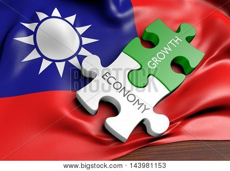 Taiwan economy and financial market growth concept, 3D rendering