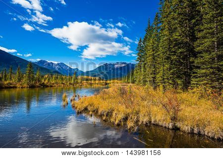 Day in the Canadian Rockies. Shallow Lake Vermilion among the autumn forests