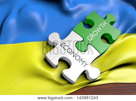 Ukraine economy and financial market growth concept, 3D rendering