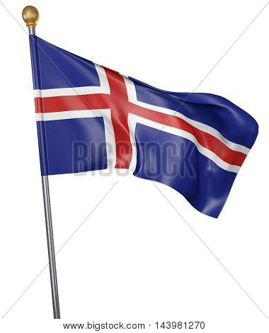 National flag for country of Iceland isolated on white background, 3D rendering