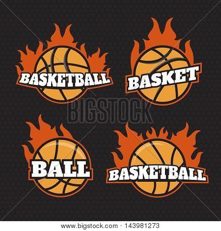 Basketball logos American logo sports set. Basketball logo in fire