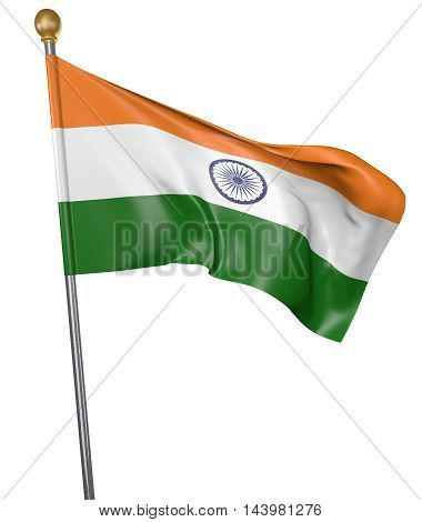 National flag for country of India isolated on white background, 3D rendering