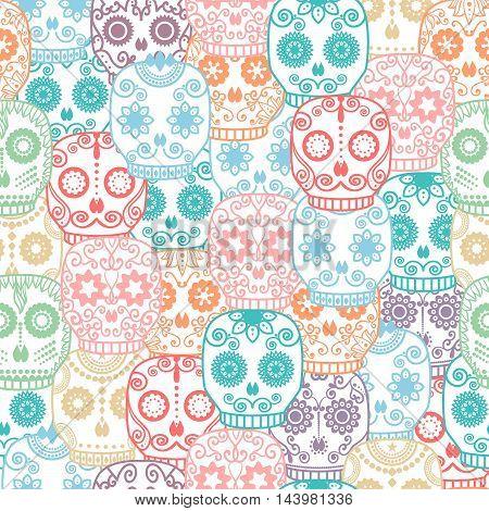 Sugar skull seamless pattern. Halloween background. Day of the dead vector illustration.