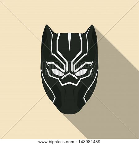 Black mask of super hero in a flat design. Vector illustration