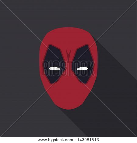 Mask of super hero in a flat design. Red colour. Vector illustration