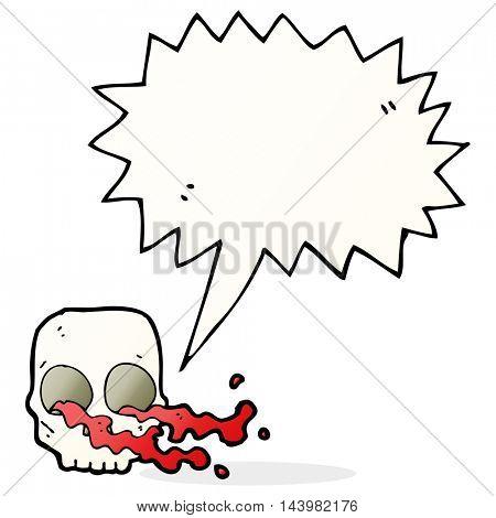 cartoon gross skull with speech bubble