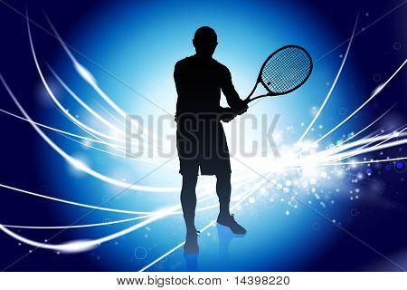 Tennis Player on Abstract Modern Light Background Original Illustration