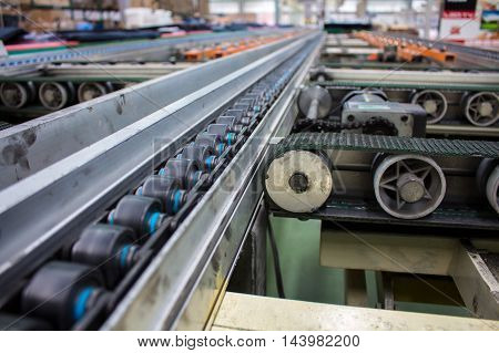 Conveyor in the production line of the factory.