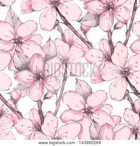 Japanese garden 8. Watercolor seamless floral pattern