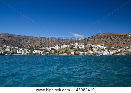 The fishing village of Elounda and its surroundings. View from the Gulf of Mirabello. Crete