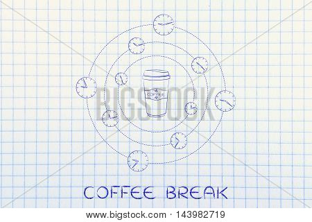 Coffee Tumbler Surrounded By Spinning Clocks