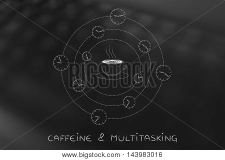 Coffee Cup Surrounded By Spinning Clocks