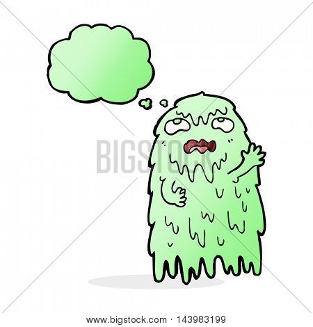 gross cartoon ghost with thought bubble