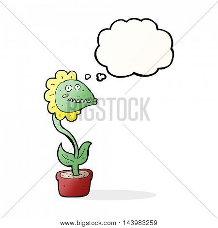 cartoon monster plant with thought bubble