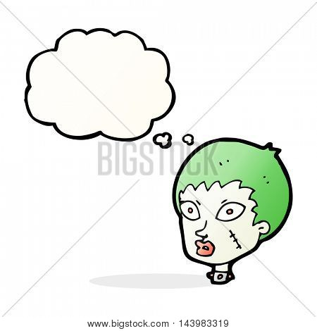 cartoon female zombie head with thought bubble
