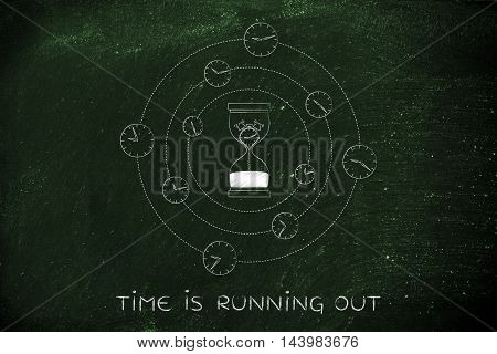 Hourglass With Melting Alarm Surrounded By Spinning Clocks