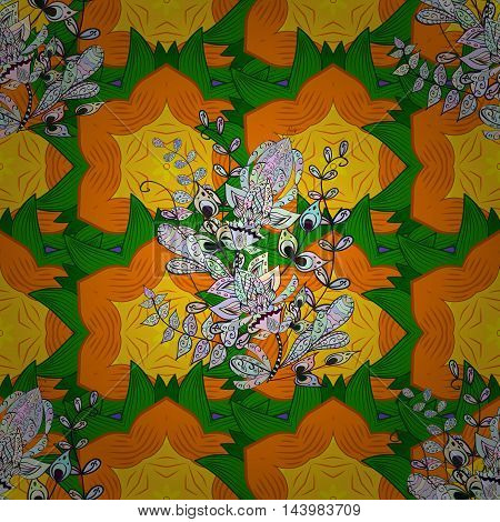 Vector boho chic flower seamless pattern. Mandala design element. Unusual flourish ornament. Orange green yellow. Vector illustaration.