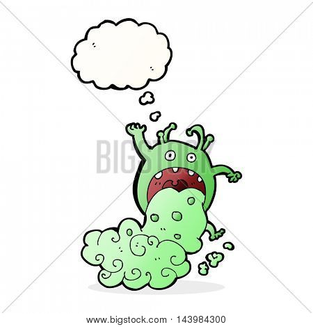 cartoon gross monster being sick with thought bubble