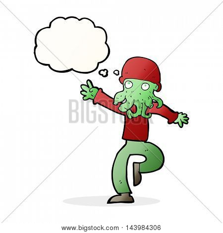 cartoon alien monster man with thought bubble