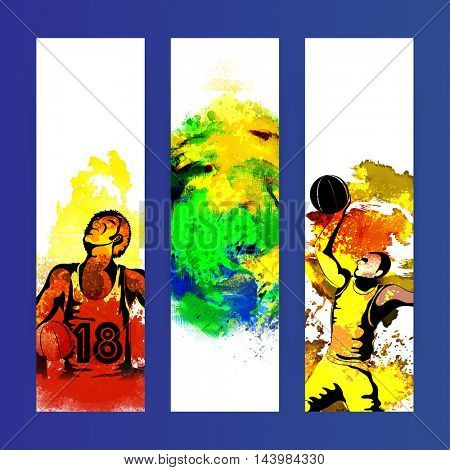 Creative website banner set with illustration of basketball player and abstract watercolor design for Sports concept.