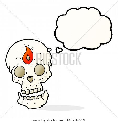 cartoon mystic skull with thought bubble