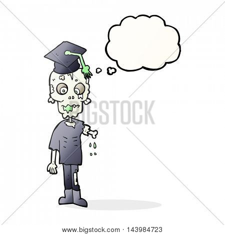 freehand drawn thought bubble cartoon zombie student