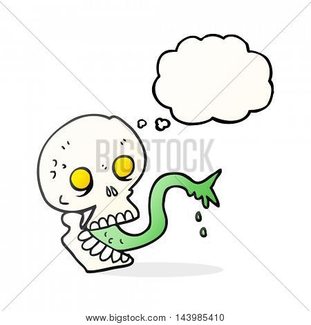 freehand drawn thought bubble cartoon spooky halloween skull