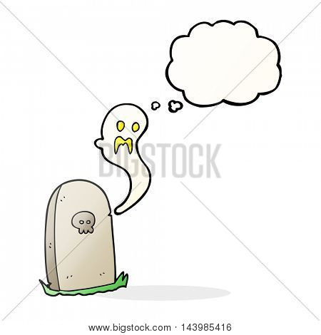 freehand drawn thought bubble cartoon ghost rising from grave