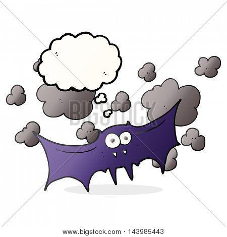 freehand drawn thought bubble cartoon vampire bat