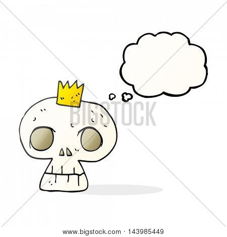 freehand drawn thought bubble cartoon skull with crown