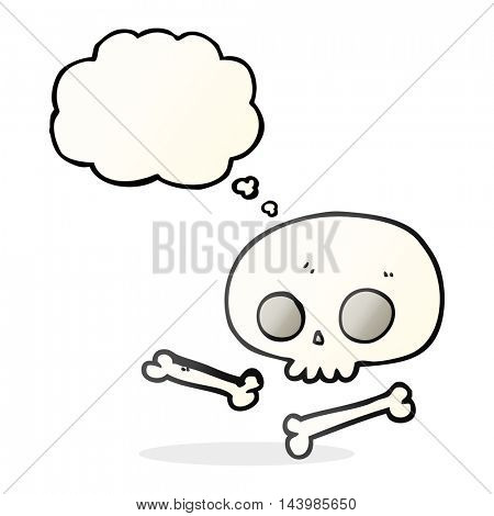 freehand drawn thought bubble cartoon skull and bones