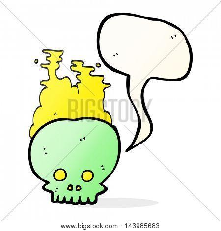freehand drawn speech bubble cartoon steaming skull