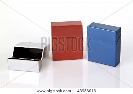 Set from Cigarette case on bright background