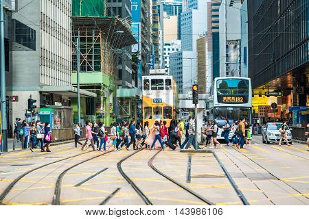 HONG KONG - OCTOBER 252015: Hong Kong's iconic tram system might be 110 years old. But it remains one of the best ways to explore the city in Hong Kong