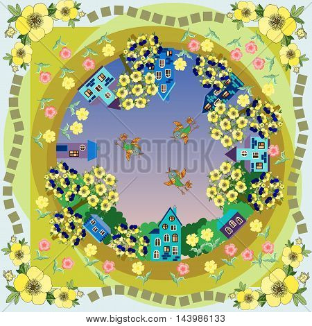 Dawn in the village. Flowering gardens. Birds in the sky. Bandanna print. Colorful vector illustration. Silk neck scarf or kerchief square pattern design style for print on fabric.