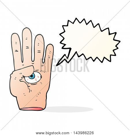 freehand drawn speech bubble cartoon spooky hand with eyeball