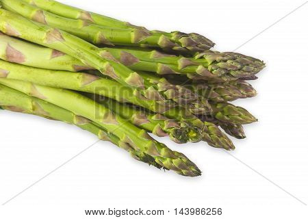 Fresh green asparagus on white background. Shot in Studio.
