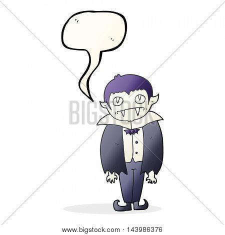 freehand drawn speech bubble cartoon vampire boy