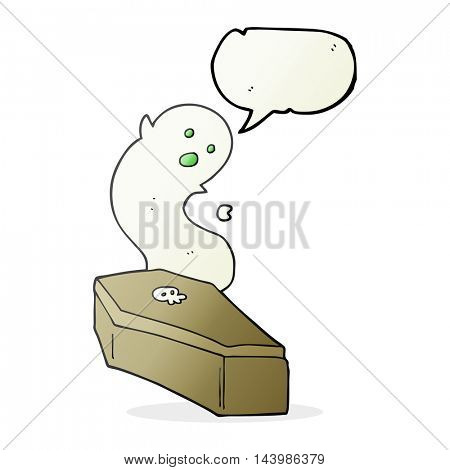 freehand drawn speech bubble cartoon spooky coffin
