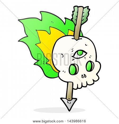 freehand drawn cartoon magic skull with arrow through brain