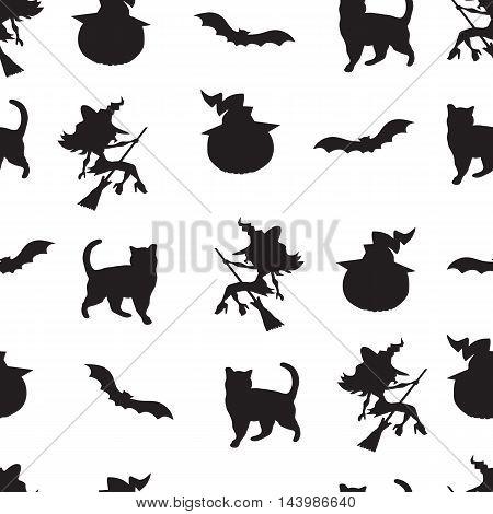 seamless pattern of halloween witch, cat, bat and pumpkin