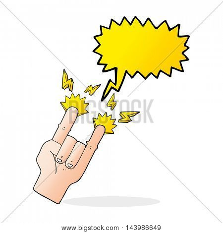 freehand drawn speech bubble cartoon hand making rock symbol