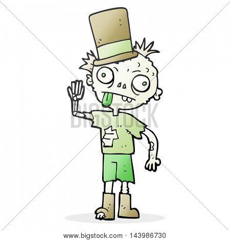 freehand drawn cartoon zombie