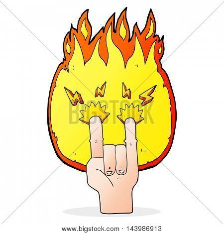 freehand drawn cartoon hand making rock symbol