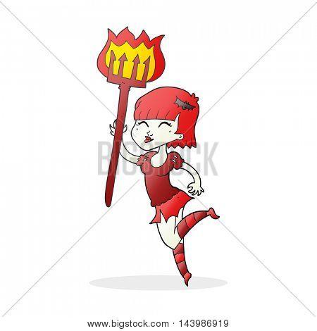 freehand drawn cartoon devil girl